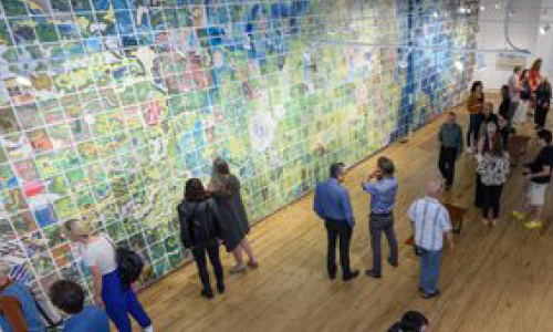 Patrons viewing Jerry's Map exhibition